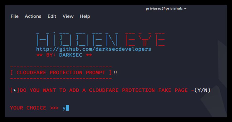 HiddenEye Cloudflare özelliği