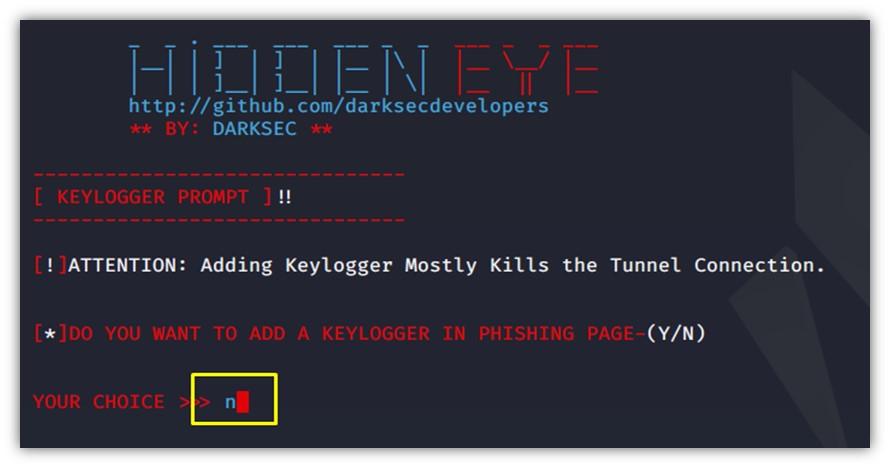 HiddenEye keylogger özelliği